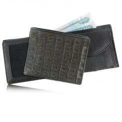 Мужское портмоне компактного размера из кожи каймана темно-коричневого цвета от Quarro, арт. WR-109