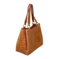 Современная женская сумка из кожи крокодила светло-коричневого цвета от Quarro, арт. BR-022