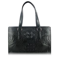 Роскошная женская черная сумка из натуральной кожи крокодила от Quarro, арт. BR-024