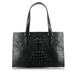 Женская элегантная черная сумка из кожи крокодила от Quarro, арт. BR-026