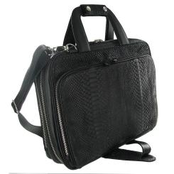 Стильная и комфортная сумка для ноутбука из черной кожи питона от Quarro, арт. GP-001