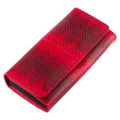 Яркий красный кошелек из экзотической кожи морской змеи от Quarro, арт. WN-118
