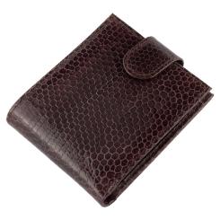 Классическое мужское портмоне темно-коричневого цвета из экзотической кожи змеи от Quarro, арт. WN-123