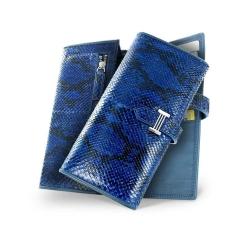 Эффектный женский кошелек в синем цвете из натуральной кожи питона от Quarro, арт. WP-016