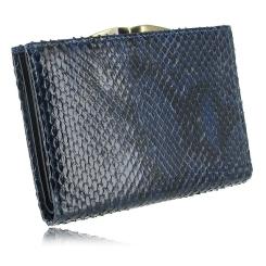 Стильный кошелек из натуральной кожи питона синего цвета для женщин от Quarro, арт. WP-125