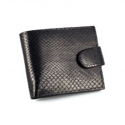 Стильное черное портмоне из кожи питона для мужчин от Quarro, арт. WP-134