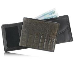 Стильное мужское портмоне темно-коричневого цвета из эксклюзивной кожи каймана от Quarro, арт. WR-104