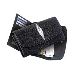 Черный современный кошелек из кожи ската для женщин от Quarro, арт. WT-077