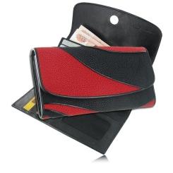 Красно-черный кошелек из экзотической кожи морского ската от Quarro, арт. WT-150