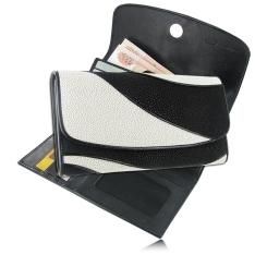 Изысканный кошелек черного цвета из экзотической кожи ската морского от Quarro, арт. WT-151