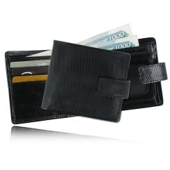 Удобное черное портмоне из кожи варана для мужчин от Quarro, арт. WZ-022