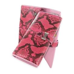 Ярко-розовый стильный женский кошелек из натуральной кожи питона от Quarro, арт. WP-042