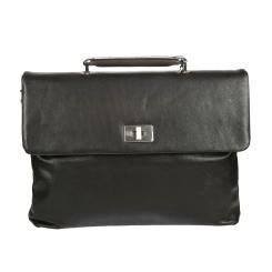 Черный мужской кожаный портфель необычной формы для бумаг от Sergio Belotti, арт. 9160 west black