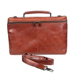 Мужской портфель красно коричневого цвета с откидной крышкой на молнии от Sergio Belotti, арт. 9308 milano brown