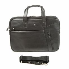 Большая мужская кожаная сумка на плечо с ручками в деловом стиле от Sergio Belotti, арт. 9282 west black