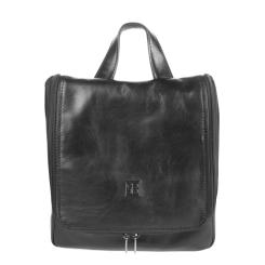 Глянцевый мужской кожаный несессер черного цвета от Sergio Belotti, арт. 8220 milano black