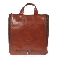 Глянцевый мужской кожаный несессер коричневого цвета от Sergio Belotti, арт. 8220 milano brown