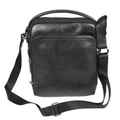 Маленькая кожаная мужская сумка с ручкой и ремнем черного цвета от Sergio Belotti, арт. 9188 milano black