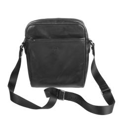 Маленькая кожаная мужская сумка черного цвета от Sergio Belotti, арт. 9272 milano black