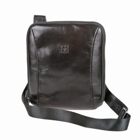 Черная мужская сумка планшет из натуральной кожи от Sergio Belotti, арт. 9557 milano black
