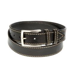 Ремень джинсовый мужской из натуральной кожи черного цвета от Sergio Belotti, арт. 056640 Nero Cucito Bianco