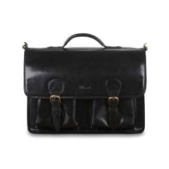 Мужской портфель из натуральной кожи буйвола в винтажном стиле черного цвета от Ashwood Leather, арт. 8190 Black
