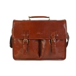 Английский мужской портфель из кожи буйвола для ноутбука 15,6 и бумаг А4 от Ashwood Leather, арт. Gareth Chestnut Brown