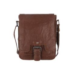 Коричневая кожаная мужская сумка через плечо, модель с клапаном на ремешке от Ashwood Leather, арт. Kingston 8341 tan