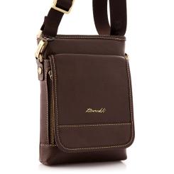 Кожаная мужская сумка с карманом на клапане и стильной металлической фурнитурой  от Barkli, арт. 301 02 coffee Br