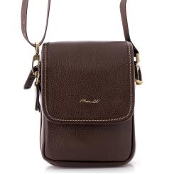 Маленькая мужская сумка через плечо из коричневой натуральной кожи от Barkli, арт. 312 02 coffee Br
