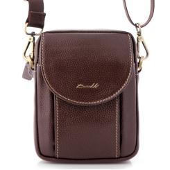 Мужская кожаная сумка с широким плечевым ремнем и двумя отделами от Barkli, арт. 3425 02 coffee Br