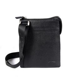 Мужская кожаная сумка планшет с одним узким отделением от Barkli, арт. 3491 03 black Br