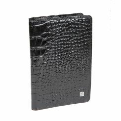 Мужская обложка для паспорта из натуральной глянцевой кожи с тиснением от Bodenschatz, арт. 4-742 black