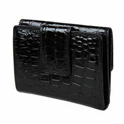 Стильный женский кошелек в три сложения, выполнен из натуральной черной кожи от Bodenschatz, арт. 4-758 black