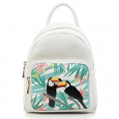 Женский белый рюкзак с двумя лямками из плотной натуральной кожи от Fiato Dream, арт. 3022