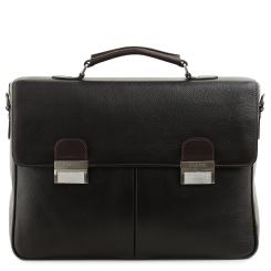 Вместительный мужской портфель из натуральной кожи черного цвета от Fiato, арт. м61397