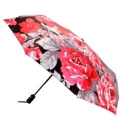 Компактный автоматический зонт с яркими красными цветами на куполе от Flioraj, арт. 013-037 FJ