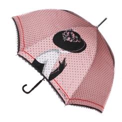 Яркий женский зонт трость с куполом розового цвета и принтом от Flioraj, арт. 121202 FJ