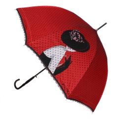 Красный женский зонт трость, модель с ярким и стильным принтом от Flioraj, арт. 121203 FJ