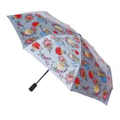 Светло-серый зонт в три сложения с приглушенным цветочным рисунком от Flioraj, арт. 190205 FJ