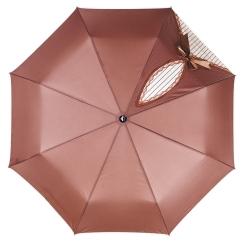 Компактный женский зонт коричневого цвета с тефлоновым покрытием купола от Flioraj, арт. 20001 FJ