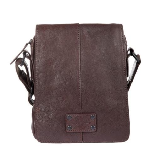 Мужская сумка планшет из натуральной темно-коричневой плотной кожи от Gianni Conti, арт. 1132313 dark brown