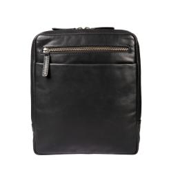 Мужская сумка-планшет из гладкой натуральной кожи с несколькими карманами от Gianni Conti, арт. 1222349 black