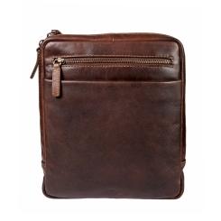 Черная мужская сумка-планшет из натуральной кожи с молнией по периметру от Gianni Conti, арт. 1222349 dark brown