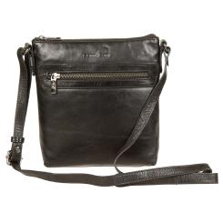 Маленькая мужская сумка планшет из черной натуральной кожи в классическом стиле от Gianni Conti, арт. 704371 black