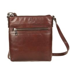Маленькая мужская сумка планшет из коричневой натуральной кожи от Gianni Conti, арт. 704371 brown