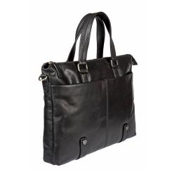 Практичная мужская деловая сумка с удобными ручками и несколькими карманами под документы и ноутбук от Gianni Conti, арт. 1221273 black