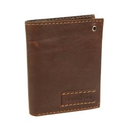 Практичная модель мужского портмоне с отверстием для карабина, украшена кожаной строчкой от Gianni Conti, арт. 1227117 dark brown