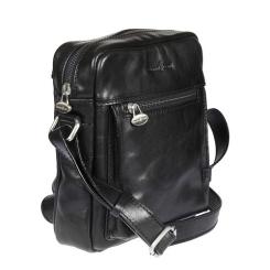 Объемная мужская сумка через плечо с интересным карманом от Gianni Conti, арт. 912255 black