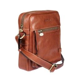 Небольшая мужская сумка через плечо  из натуральной кожи с одним отделением от Gianni Conti, арт. 912255 tan